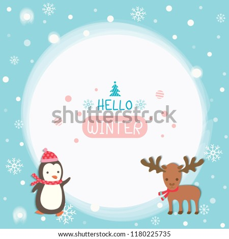 Illustration vector of  penguin and moose decorated in the snow for Happy Winter.
