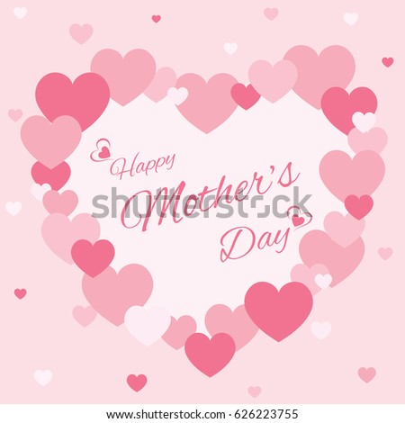 Illustration vector of pink hearts decorated to heart shape design for Mother's day card.