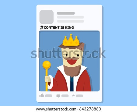 illustration vector of profile frame on content is king as concept.