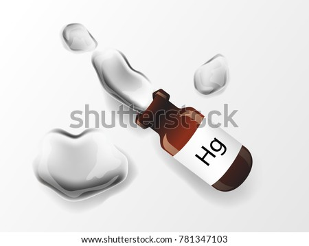 illustration vector of shiny mercury (Hg) metal chemical element in vial bottle, toxic mercury metal with drops and droplets of toxic mercury liquid isolated on white