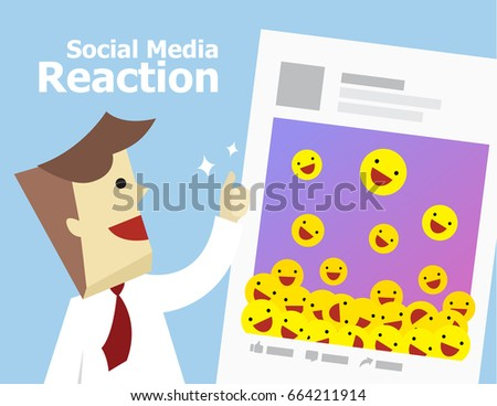Illustration vector of social media good reaction from customer on post. Young business man happy about viral content feedback from audience.