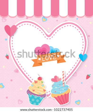 Illustration vector of Valentine's card design with cupcakes and heart shape on pink cafe background.