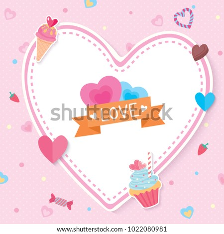 Illustration vector of Valentine's card design with sweet dessert and heart shape on pink background.
