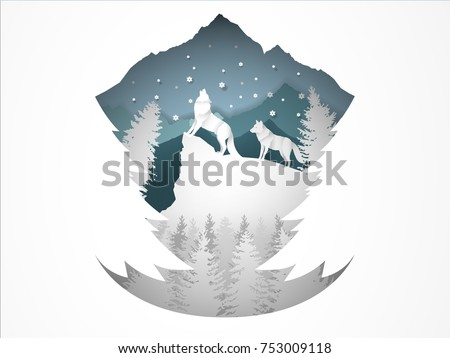 illustration vector of wolf howling in forest with snow in the winter season and christmas tree, vector paper art style of winter and chirstmas season design concept