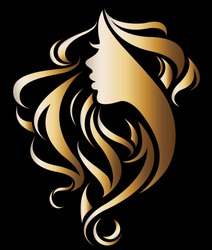 illustration vector of women silhouette golden icon, woman face logo on black background