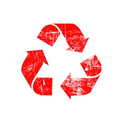 illustration vector red recycle symbol rubber stamp icon isolated on white background