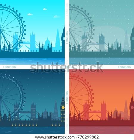 illustration vector set of city