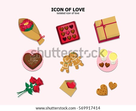 illustration vector set of icon food and gift of Valentine's day theme.