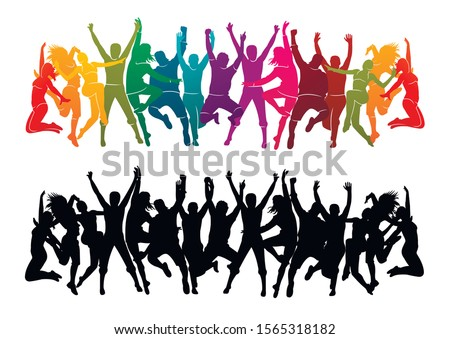 Illustration vector silhouettes party dance colorful group of jumping people dancing. Jazz funk, hip-hop, house dance. Dancer man on white watercolor background. Happy celebration. Hand up