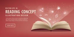 Illustration vector the red book are open, the icon refers to knowledge. Education Learning and Reading Concept.