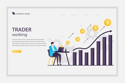 Illustration vector Trader working concept landing page. Businessman or stock market trader working at desk with a monitor showing data. Trader businessman works in financial business data analysis.