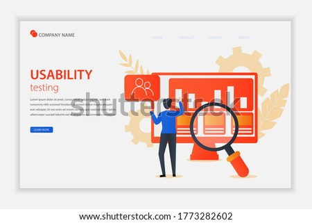 Illustration vector Usability testing concept landing page with the young man is testing the interface usability of website and application. Suitable for landing page, editorial, flyer, banner. Stock photo ©