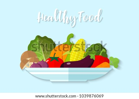 Illustration Vegetable on a plate on blue background , Healthy food vector , raw materials for cooking , organic vegetable