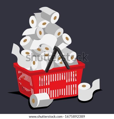 Illustration vetor of hoarding toilet paper on coronavirus panic buying case. Stock foto ©