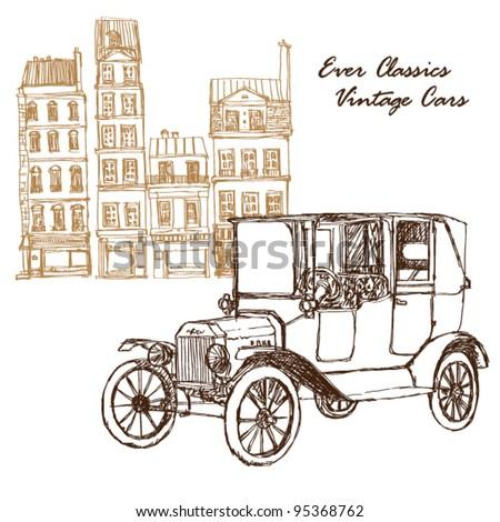 illustration vintage car with