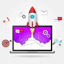 Illustration web startup. Rocket flight, promotion SEO