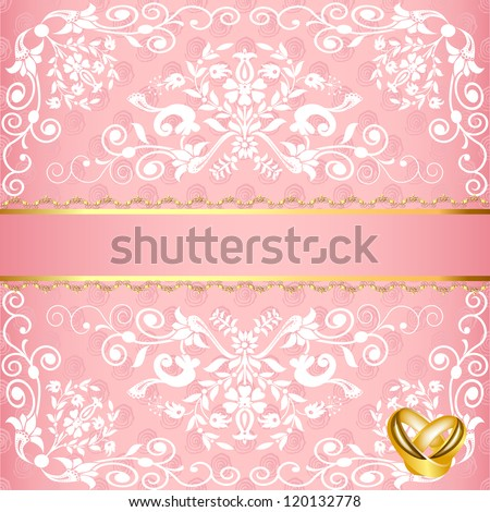 illustration wedding card with floral pattern and rings