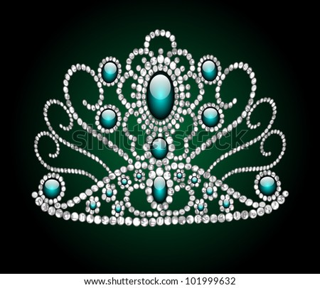 illustration wedding feminine diadem on green background