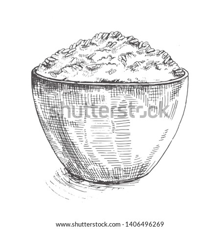Illustration White rice (Thai Jasmine rice) in wooden bowl.Sketch.Rice hand drawn vector illustration.Cereal rice.