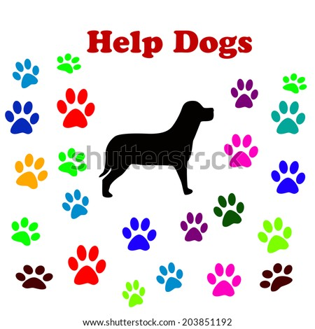 illustration with a dog and dog paws and text help dogs