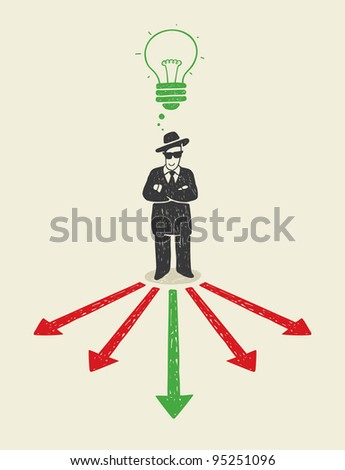 Illustration with a man making your choice.