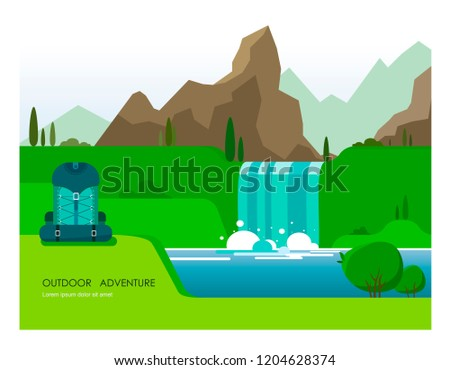 Illustration with a natural landscape of mountains, a river and a waterfall with vegetation and a hiking backpack in the foreground. The illustration is made in the style of flat