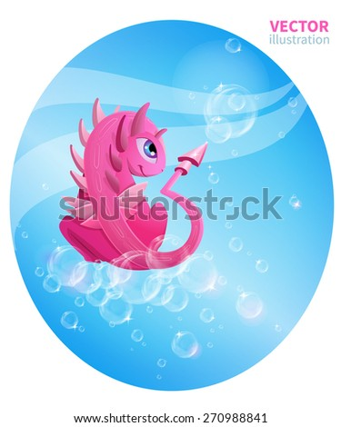 illustration with a pink dragon