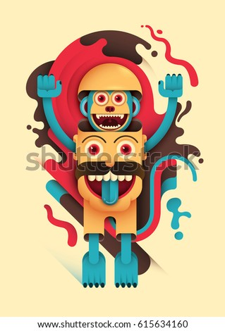 Illustration with abstract style composition, made of bizarre human head and comic monkey. Vector illustration.