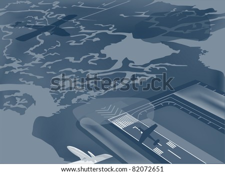 illustration with airport and plans