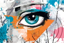 Illustration with an eye. Bright pattern on the wall background. Vector. Blue eye. Bright spots.