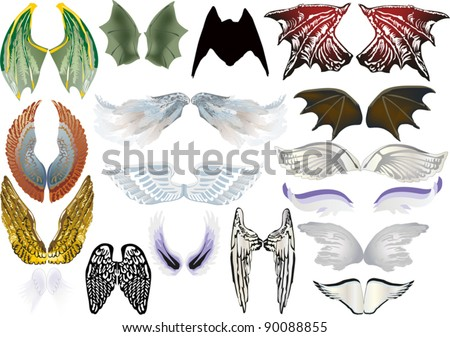 illustration with angel and dragon wings isolated on white background