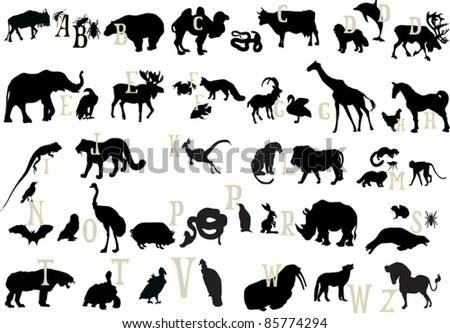 illustration with animal alphabet isolated on white background - stock vector