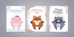 Illustration with animals and text. Greeting card with an animal, with pig merry christmas. Greeting card with a fox a good day, with raccoon happy birthday. Happy Birthday.