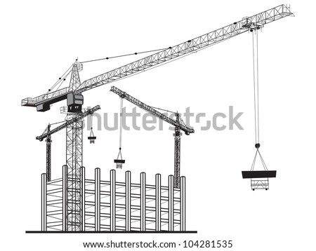 Illustration  with apartment building and cranes.