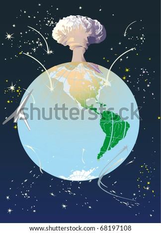 illustration with atomic explosion cloud above Earth