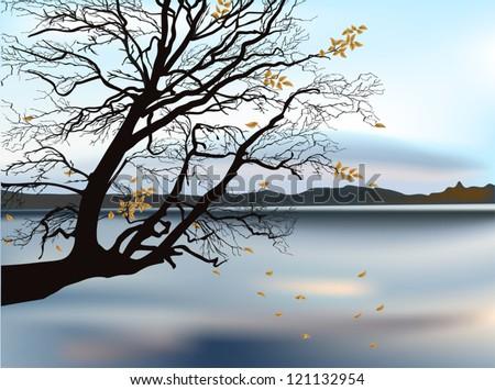 illustration with autumn tree