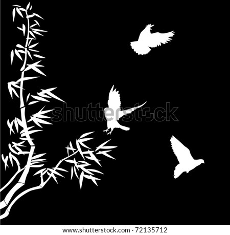 illustration with bamboo and three small birds