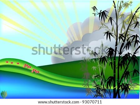 illustration with bamboo at sunrise
