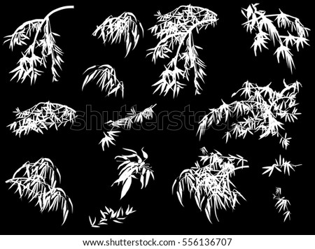 illustration with bamboo collection on black background