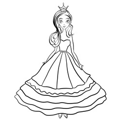Illustration with beautiful princess in dress for coloring book.