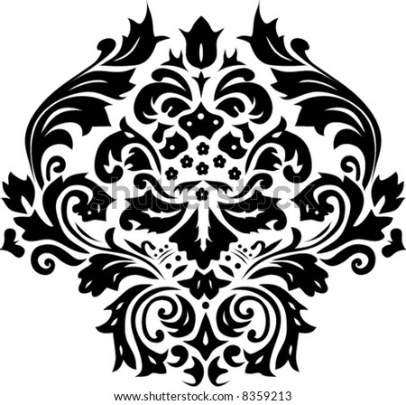 Illustration With Black And White Flower Ornament - 8359213 ...