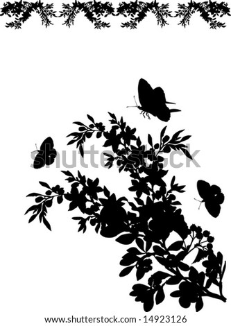 Butterfly Decorations on With Black Butterflies And Different Flowers Decoration   Stock Vector