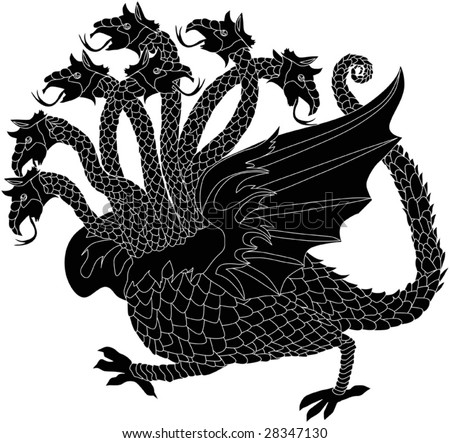 illustration with black dragon