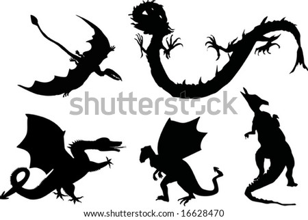 illustration with black dragons isolated on white background