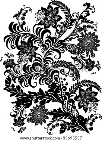 illustration with black flowers design on white background
