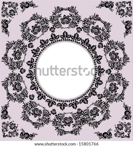 illustration with black round frame on pink