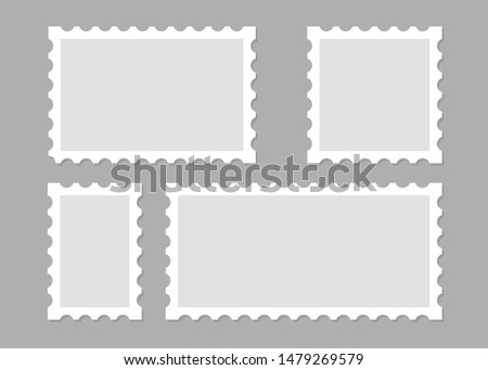 Illustration with blank postage stamps. Isolated vector design. Perforated edge label. Label, sticker vector illustration
