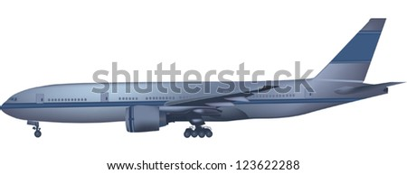 illustration with blue airplane isolated on white background