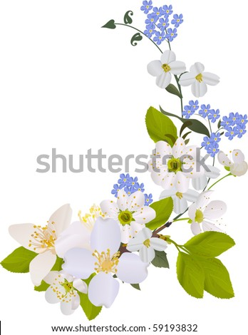illustration with blue and white flowers curl