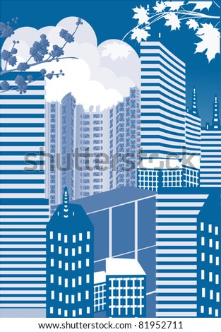 illustration with blue city buildings